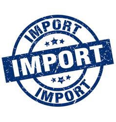 Import blue round grunge stamp vector