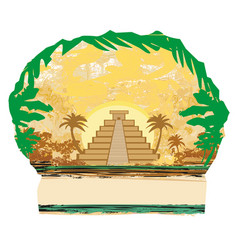 Mayan pyramid chichen-itza mexico - grunge vector