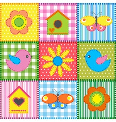 Patchwork with birdhouse vector image