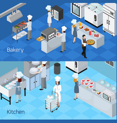 professional kitchen interior horizontal banners vector image vector image