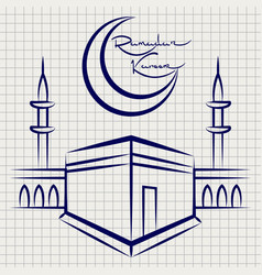 ramadan kareem mosque on notebook page vector image vector image