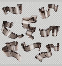 Retro 35mm foto and movie film roll set vector
