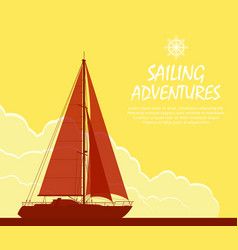 sailing yacht at sunset vector image