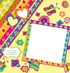 Scrapbook with doodle elements and place for your vector image vector image