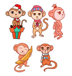 set of hand-drawn cartoon monkeys for your vector image vector image