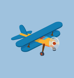 Side view of airplane biplane with piston engine vector