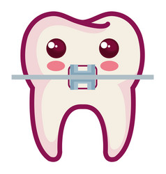 Tooth with bracket character isolated icon vector