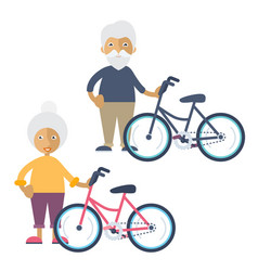 two old people standing beside their bikes vector image