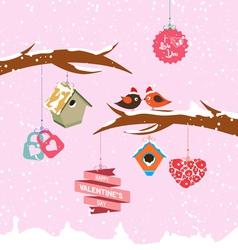 Valentine day birdhouse for winter vector