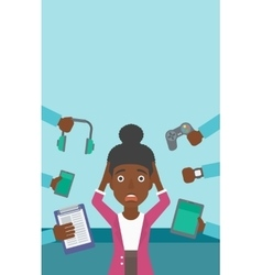 Woman surrounded with her gadgets vector