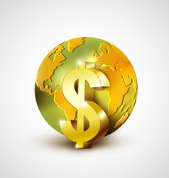 World economic concept with gold world and dollar vector