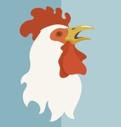 White rooster with open beak vector