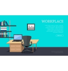 Workplace concept web banner in flat design vector