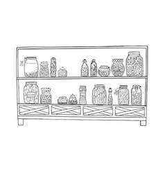 rack with pickled jars with vegetables fruits vector image
