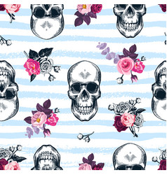 Seamless pattern with human skulls and semi vector