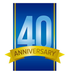 40th anniversary label vector image