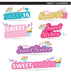 Sweet sixteen banners converted vector