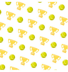 Tennis ball and trophy vector
