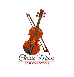 classic orchestra concert violin icon vector image