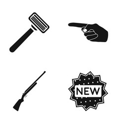 A razor an index gesture and other web icon in vector