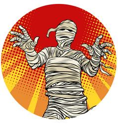 Egyptian mummy walking pop art avatar character vector