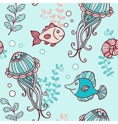 Marine seamless pattern with jellyfish vector