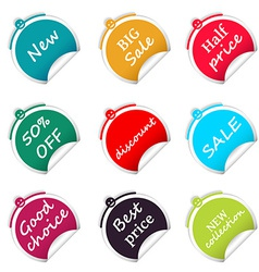 Set of sale circle stickers web shop vector image