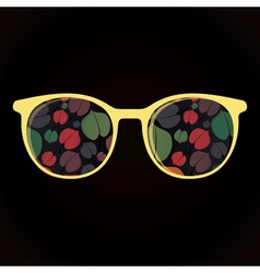 Glasses with colorful leaves on black background vector image