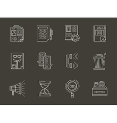 Personnel search white flat line icons set vector