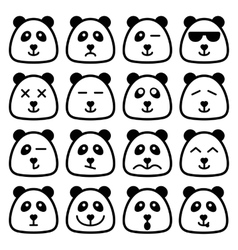 Panda emotional emoji square flat faces icon vector