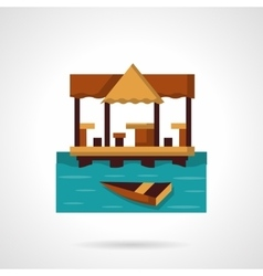 Seaside coast cafe-bar flat color icon vector