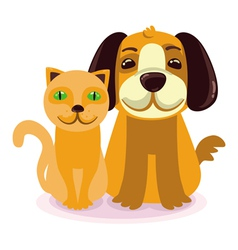 Cartoon - smiling dog and cat vector