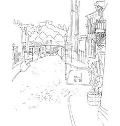 Monochrome sketch city town urban vector