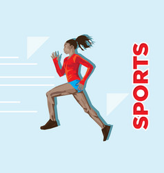 active sporty young running woman runner athlete i vector image
