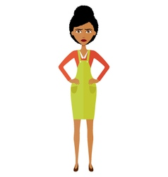 Angry african young woman vector
