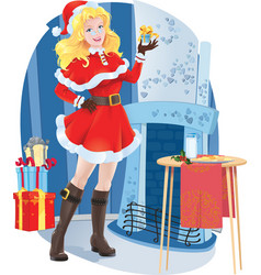 Beautiful santa girl with christmas present vector