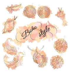Boho style watercolor spots with jewelery vector image vector image