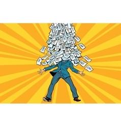 Businessman and bureaucracy a mountain of vector