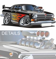 cartoon retro muscle car vector image vector image