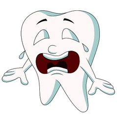 Cute tooth cartoon crying vector image vector image