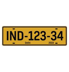 Delhi car plate vector