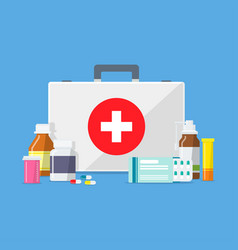 Doctors or medical bag with tablets pills drugs vector