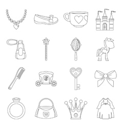 Doll princess items icons set outline style vector