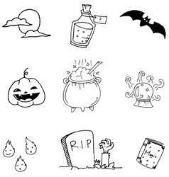 Doodle of set halloween hand draw vector image vector image