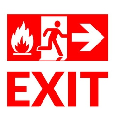Exit sign fire vector