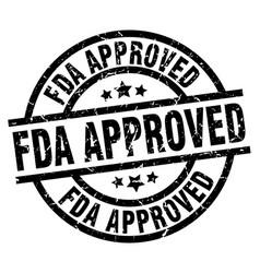 Fda approved round grunge black stamp vector