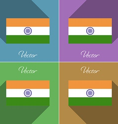 Flags India Set of colors flat design and long vector image