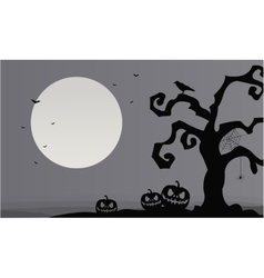 Gray backgrounds halloween pumpkins and dry tree vector