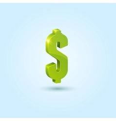 Green dollar sign isolated on blue background vector image vector image