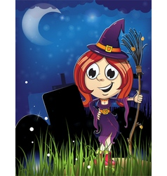 Halloween witch girl in the cemetery vector image